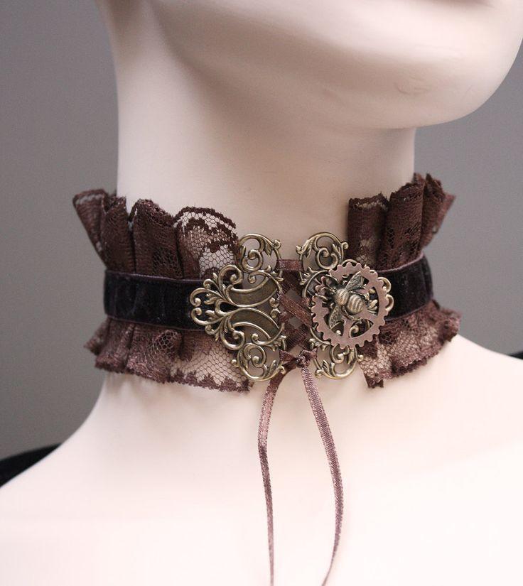 Gothic Halsschmuck mit Zahnrädern Steampunk Schmuck Collier Halsband mit Spitze