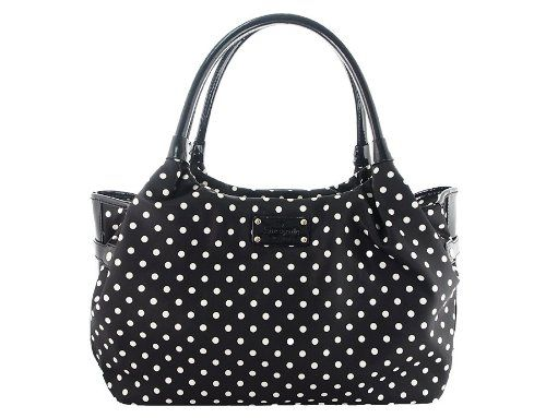 Kate Spade Stevie Black Cream Spot Nylon Shoulder Handbag Was 275 00 Now 170 06