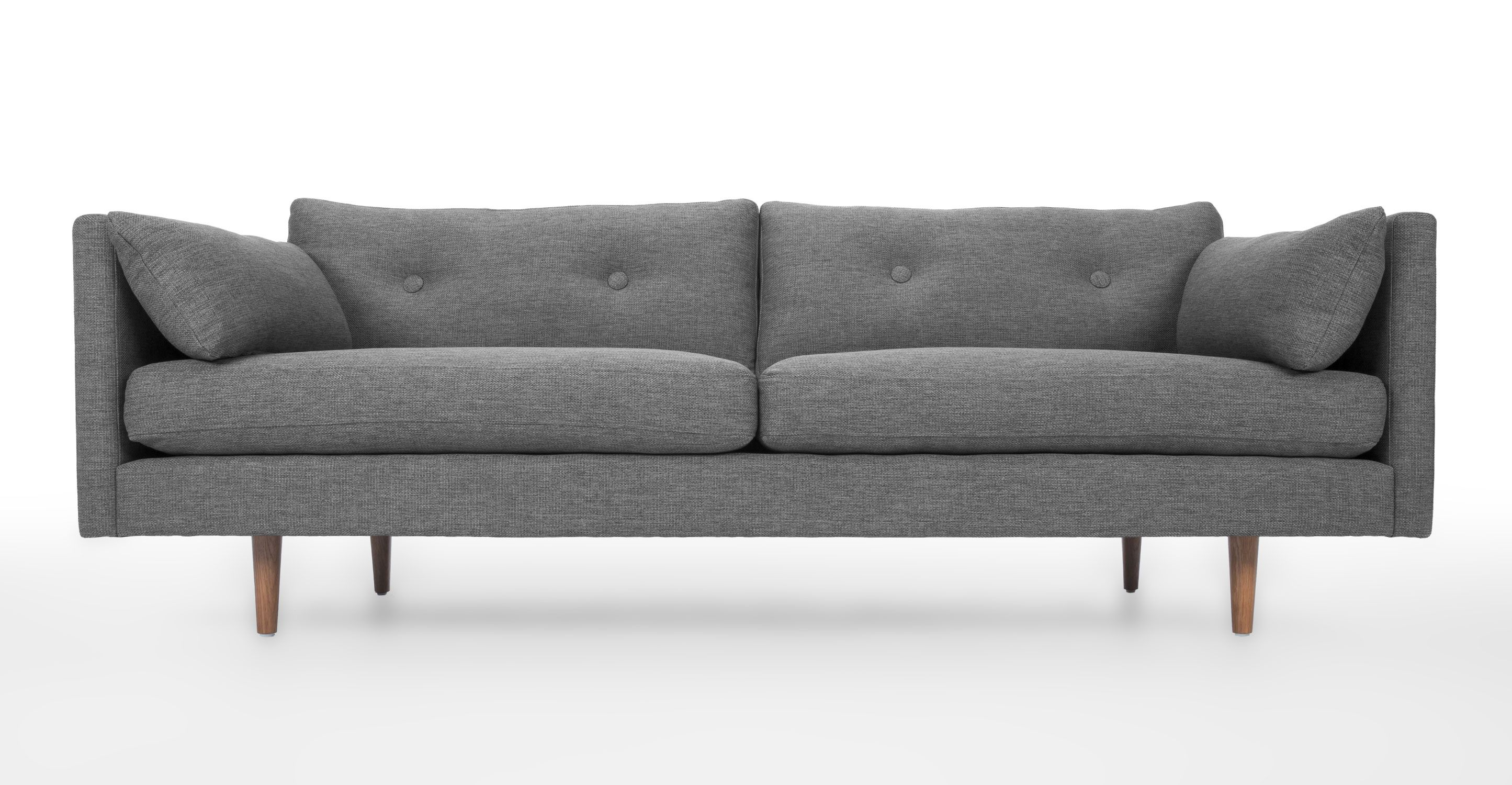 Gray Sofa Tufted Button Back Solid Wood Legs