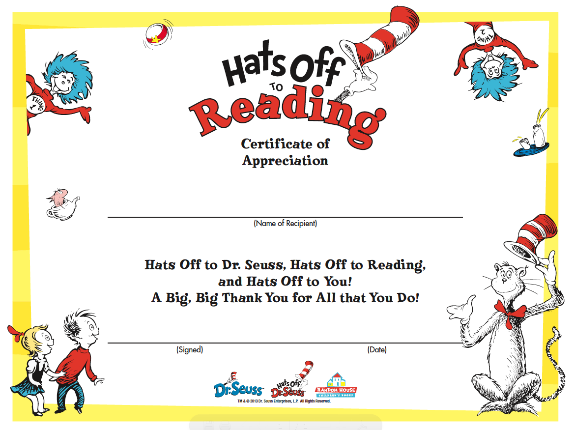 Happy birthday dr seuss activities cat in the hat reading certificate 1betcityfo Choice Image