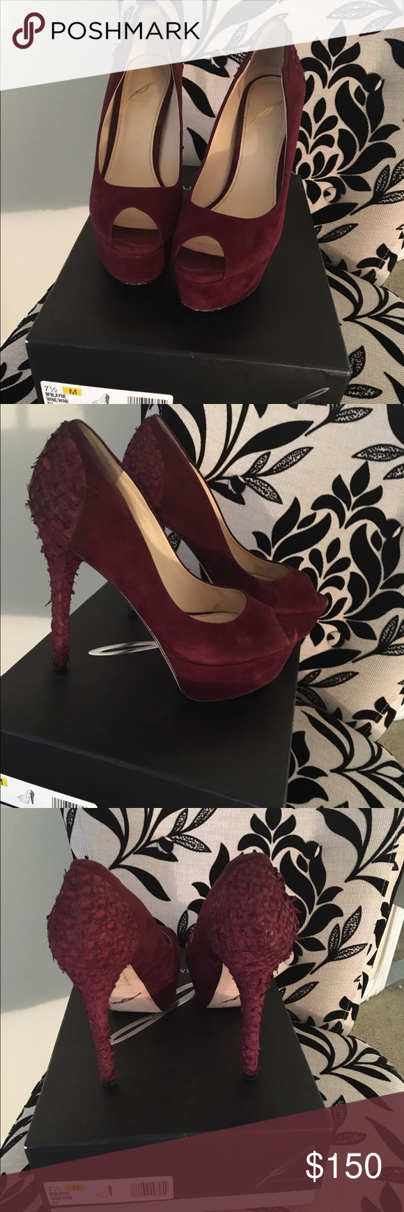 "B Brian Atwood Suede Peep Toe Pump These beautiful burgundy pumps will be a unique piece for this season.  The heel is very unique and make a BOLD fashion statement. Heel about 5 1/4"" stacked heel with 1 5/8"" platform. Comes with box. Shoes worn a few times. B Brian Atwood Shoes Heels"