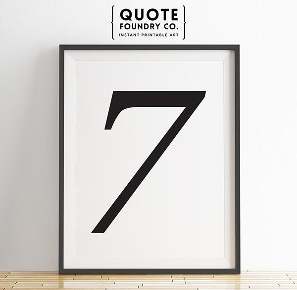Lucky Number 7 - Printable Numeric Design // Minimalist Typography Wall Art Decor - INSTANT DOWNLOAD Print lucky 7 black and white 8x10 typography poster quote foundry co digital download number print number 7 print 7 print minimalism poster number 7 5.20 USD #goriani