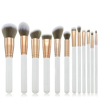 white marbleous 12 piece set  eye makeup brushes makeup