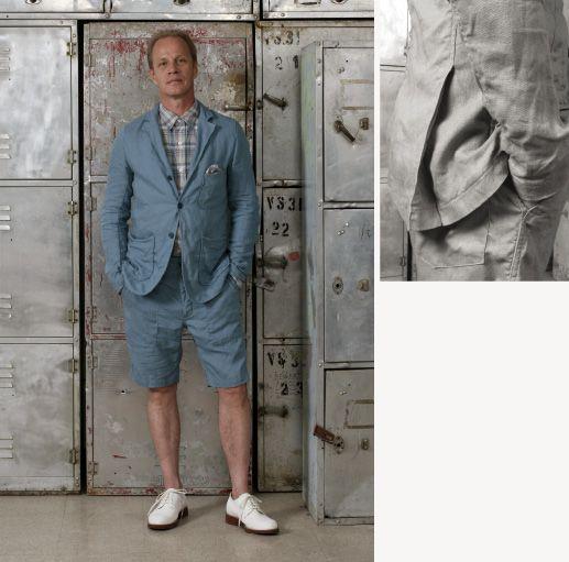 8 baker jacket u0026 fatigue short in light blue linen work