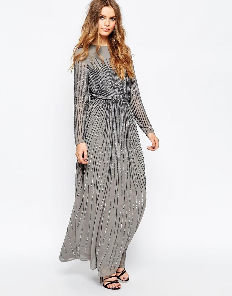 Asos Linear Sequin Long Sleeve Maxi Evening Dress In Grey Uk 6eu 34