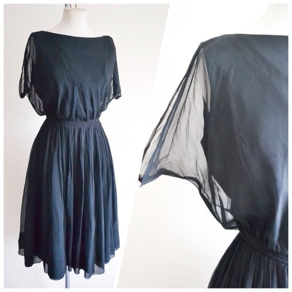 SALE 1940s 50s Black chiffon full skirt cocktail dress / 40s 1950s little black dress - S