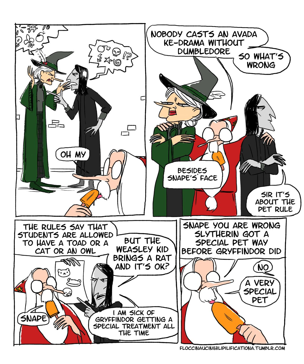 Slytherin's Special Pet by floccinaucinihilipilification. Click through for final panel.