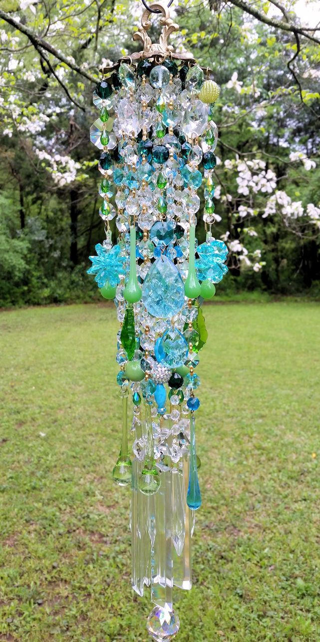 Aqua and Green Antique Crystal Wind Chime, Summer Wind Chime, Garden ...