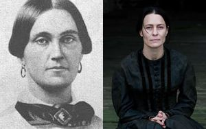 """Mary Surratt, convicted of taking part in the conspiracy to assassinate President Abraham Lincoln, first woman executed by the U.S. government.  Robin Wright in the film """"The Conspirator""""."""