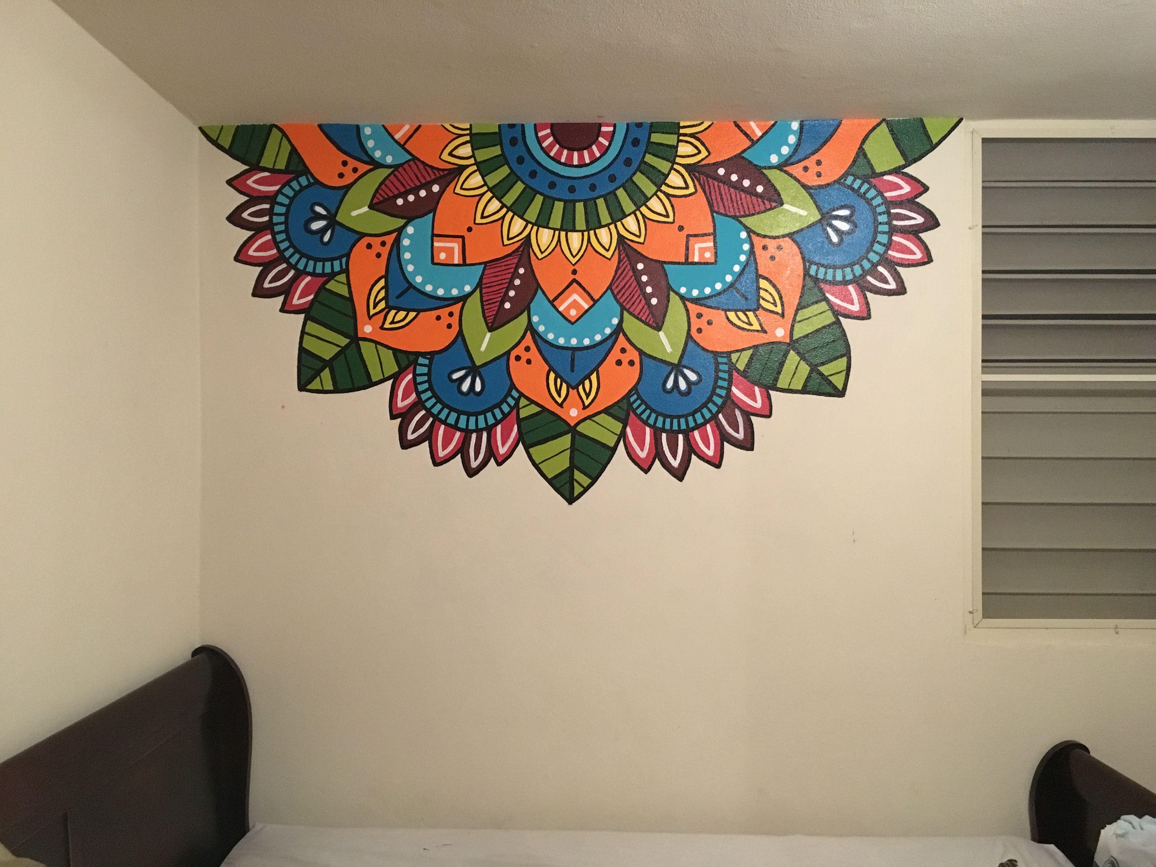 Mandala colors tattoo pared draw mandalas - Pintar mural en pared ...