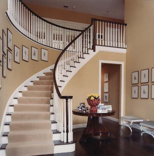 14 Staircases Design Ideas: Modern Colonial Foyer Curved Staircase