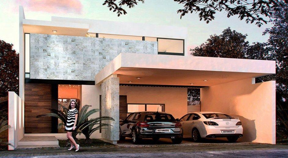 fachada de casa moderna de dos pisos con cochera doble