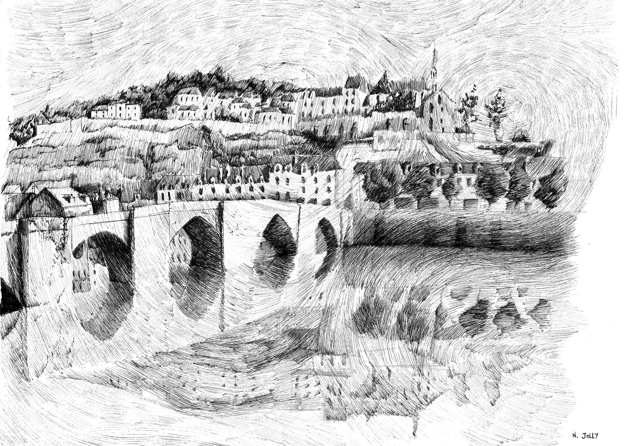 FingerprintBlack ink drawing Terrasson village Dessin