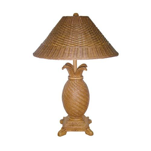 Tropical Wicker Light Tea Table Lamp with Wicker Shade