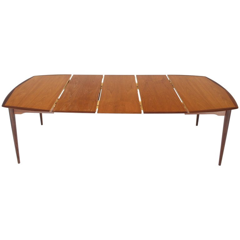 Danish Modern Square Two Tone Teak Dining Table With 3 Leaves