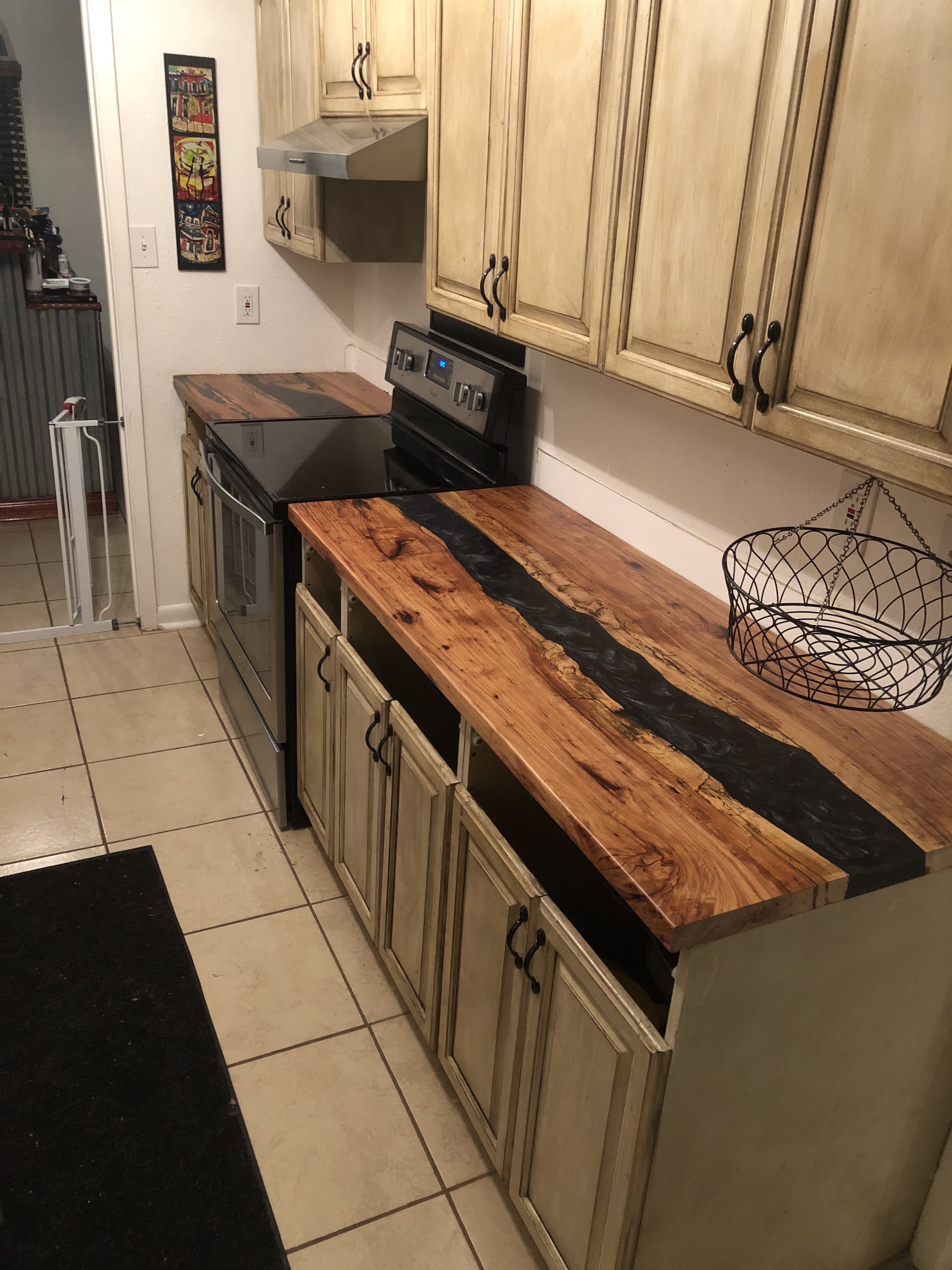 Epoxy River Counter Top Wood Countertops Kitchen Kitchen Design