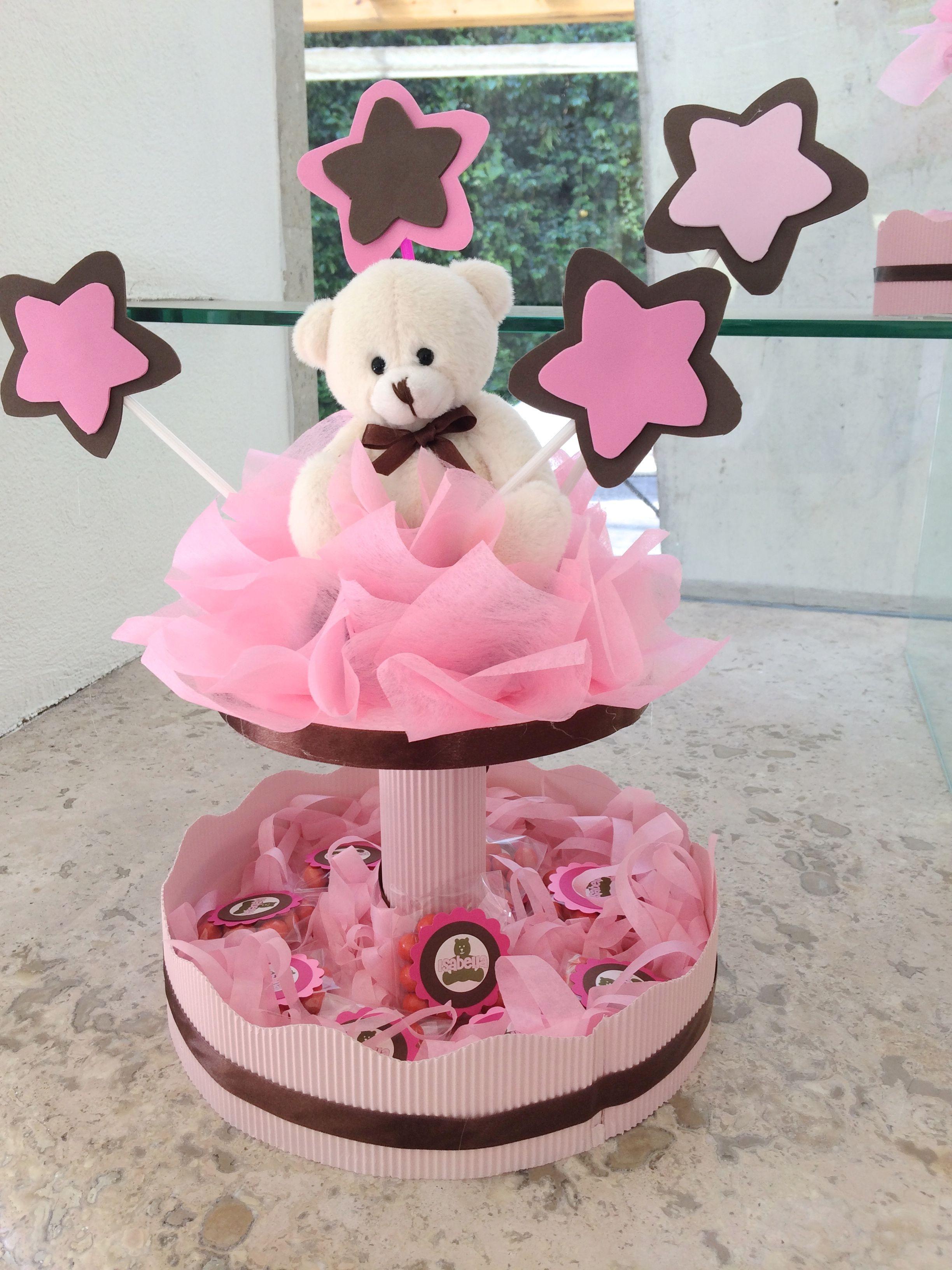 Centro De Mesa Teddy Bear Para Babyshower De Nina Decoracao Cha De Bebe Decoracao Festa Menino Festa De Aniversario Infantil