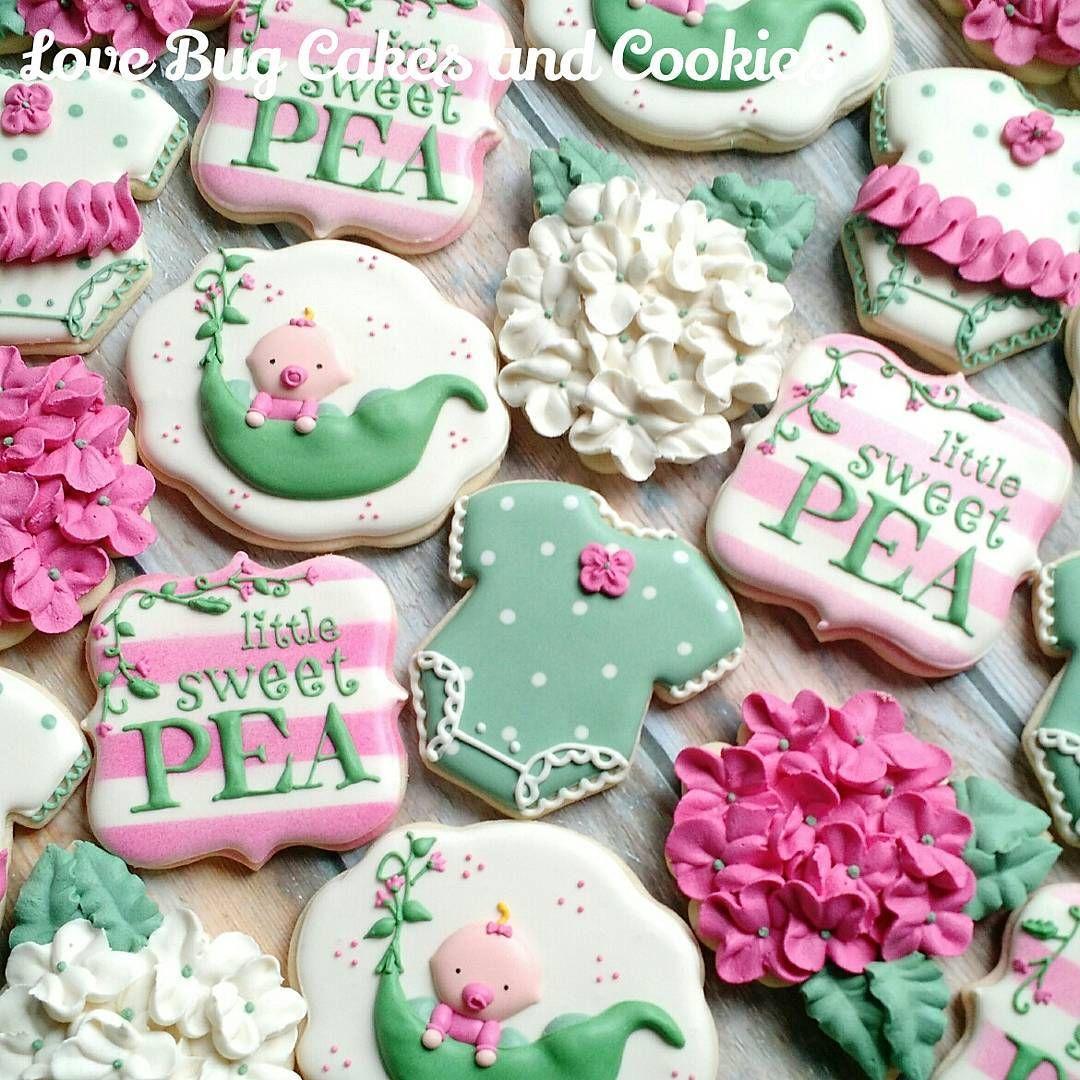 Little Sweet Pea shower! #babyshower #onesies #littlegirl #sweetpea #hydrengea #flowers #pretty #flowercookies #lovebugcookies #decoratedcookies #loudouncounty #leesburg #southriding #ashburn #gifts #cookieart #cute #cookies #pretty #cookieclasses #cookiedecoratingclass #loudouncountyactivity #lovebugstudio