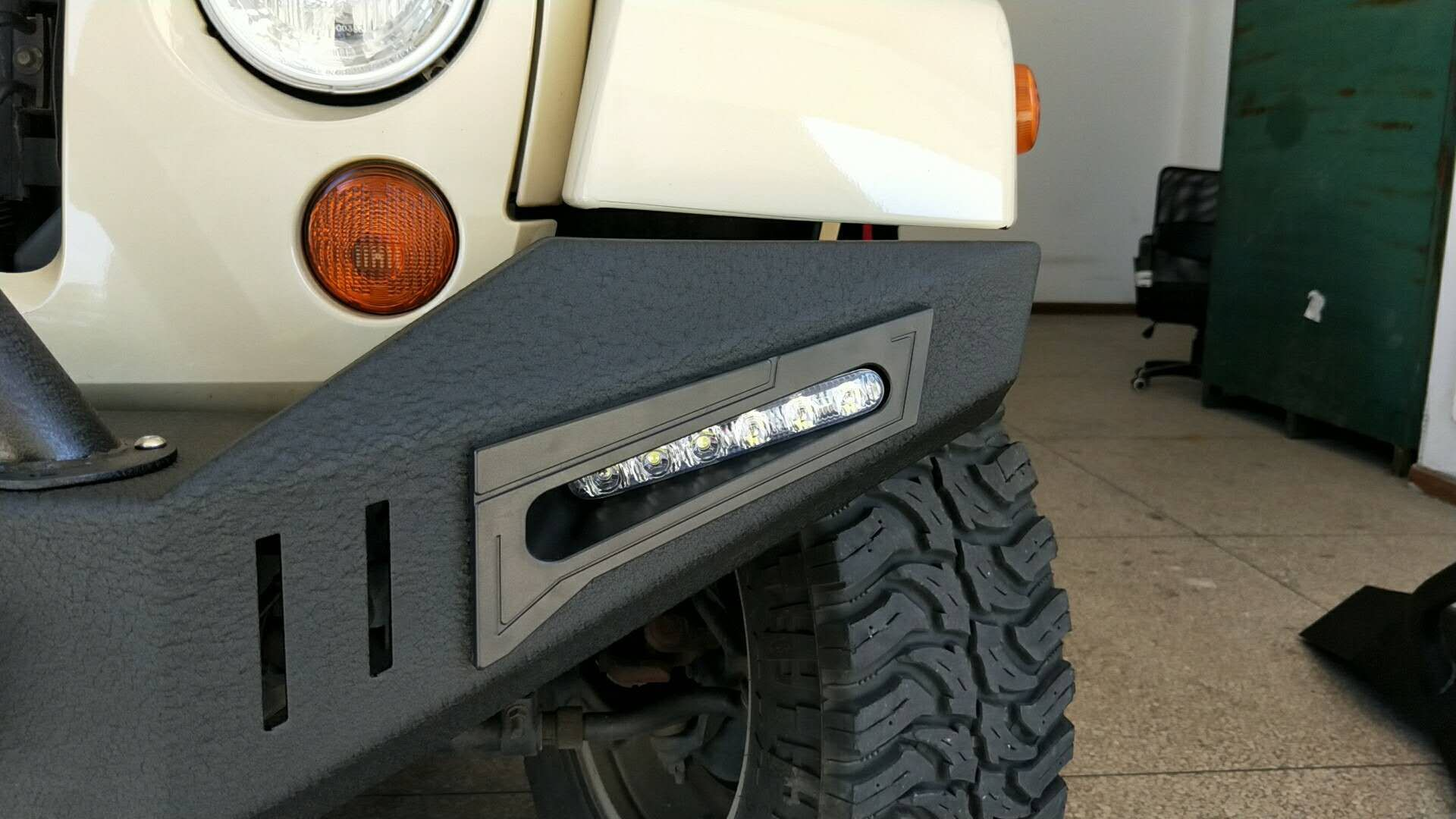 Picture Of A Jk Warehouse Custom Design Front Bull Bar With Led Lights On Special Jeep Wrangler Front Bumper Offroad Accessories Bull Bar