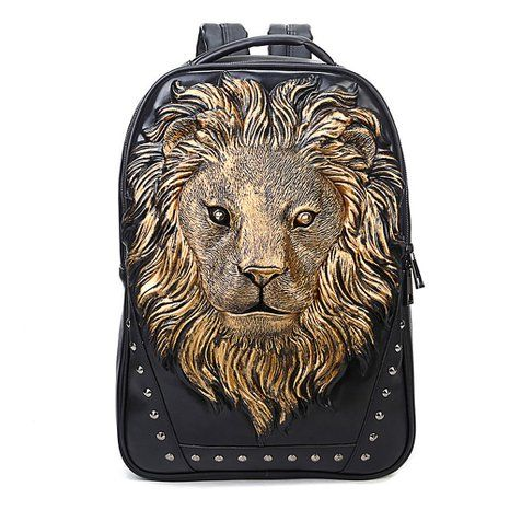 Amazon.com | Aibag Personalized 3D Lion Studded PU Leather Casual Laptop Backpack School Bag | Kids' Backpacks