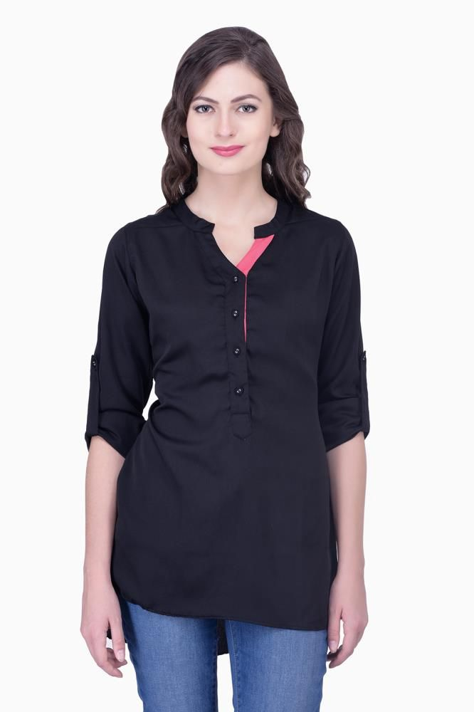 Black Dress Solid Women Party Wear Office Casual Tops Tunic Tunics For Online