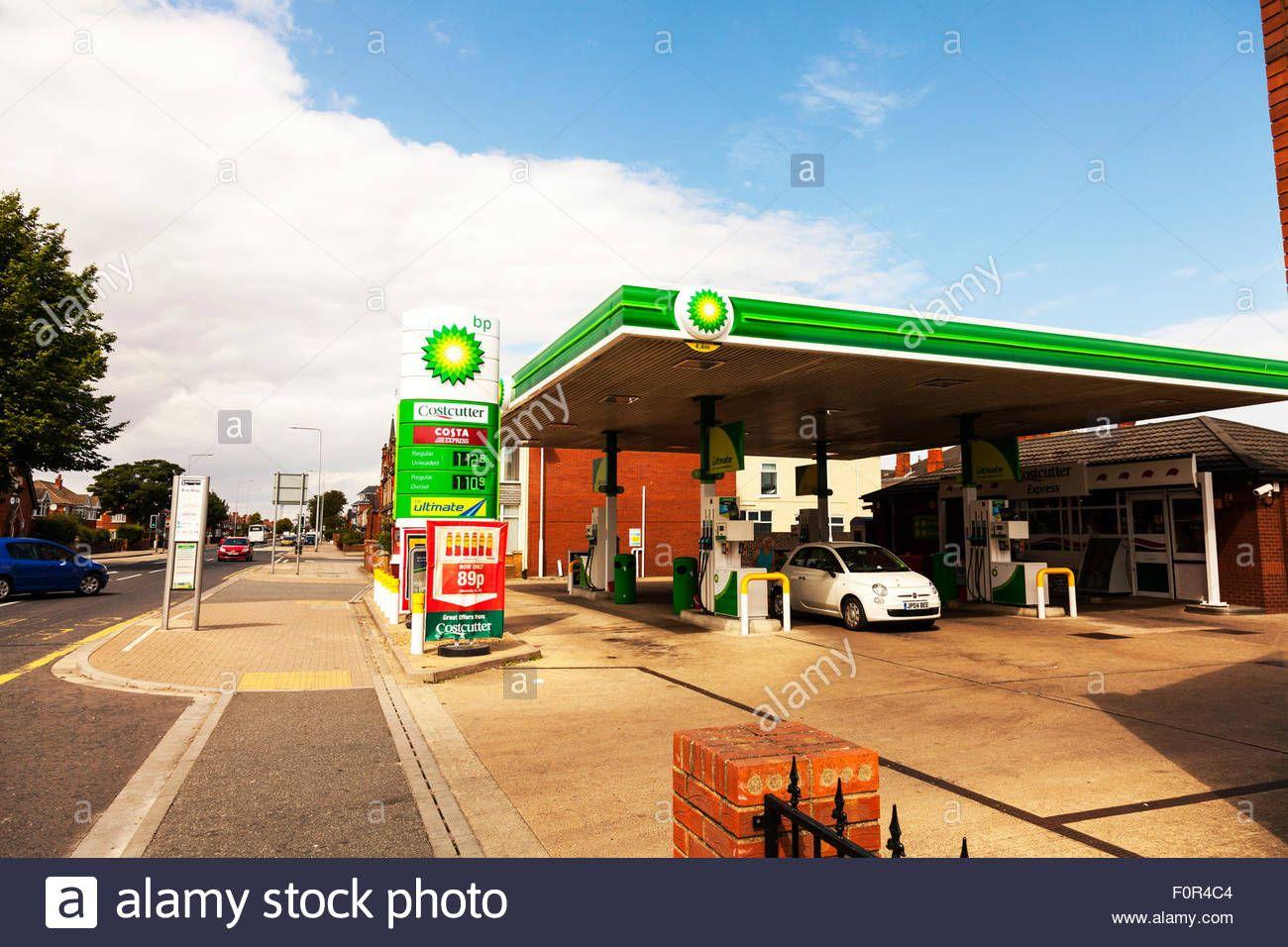 Download this stock image: BP petrol station British Petroleum pumps