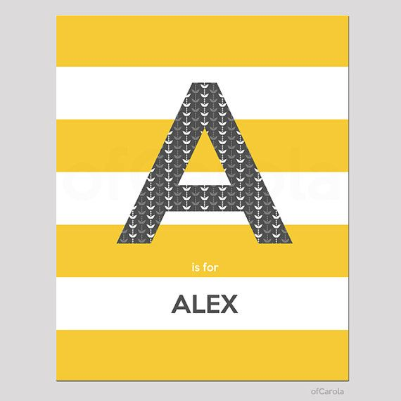 Initial Monogram Name Print Wall Art PERSONALIZED by ofCarola ...