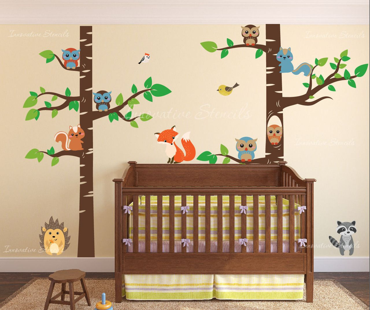 Birch tree forest wall decal with creatures pinterest tree