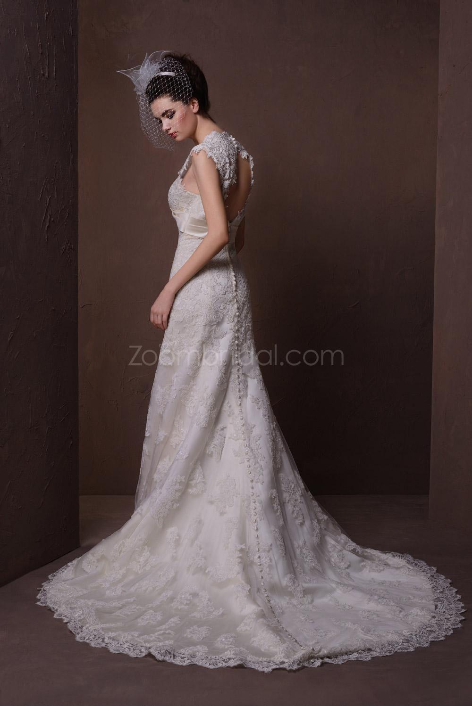 Romantic lace appliqué sheath vintage wedding dresses cap sleeves