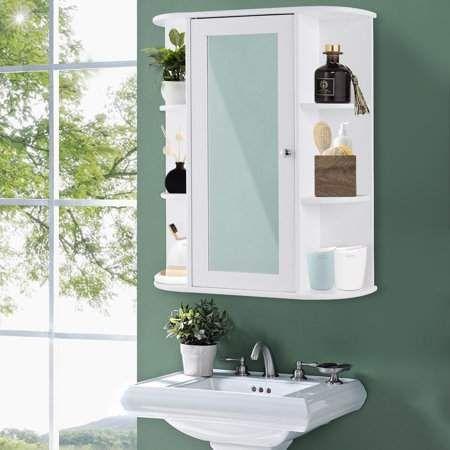 Bathroom Cabinet Single Door Shelves Wall Mount Cabinet Walmart Com In 2020 Wall Mounted Cabinet Single Doors Mirror Door