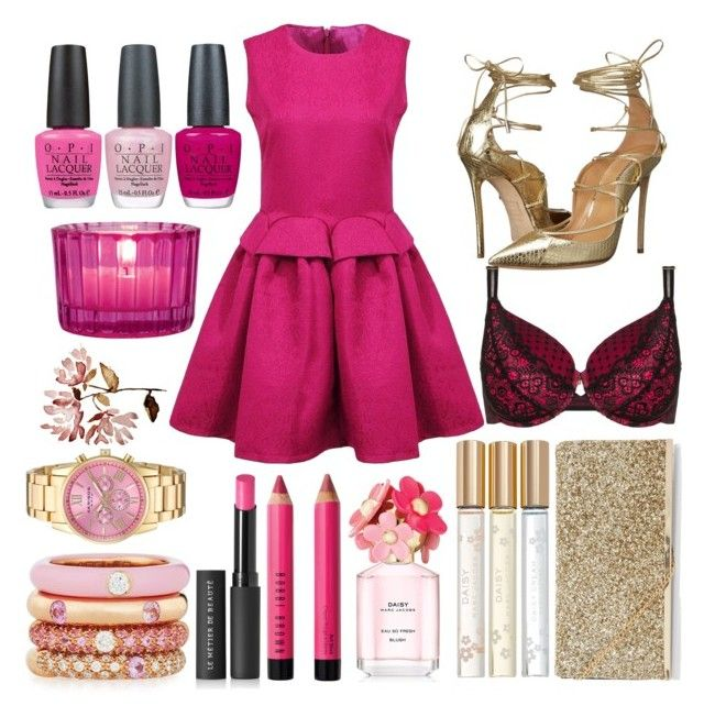 """""""Think PINK"""" by diva-malena ❤ liked on Polyvore featuring Dsquared2, Ashley Graham, New Look, OPI, Marc Jacobs, Cultural Intrigue, Bobbi Brown Cosmetics, Le Métier de Beauté, Adolfo Courrier and Akribos XXIV"""
