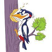 Pjaro carpintero picoteando el rbol personaje Animal de dibujos