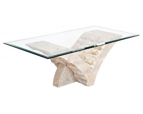 seagull stone coffee table in clear glass top | stone coffee table
