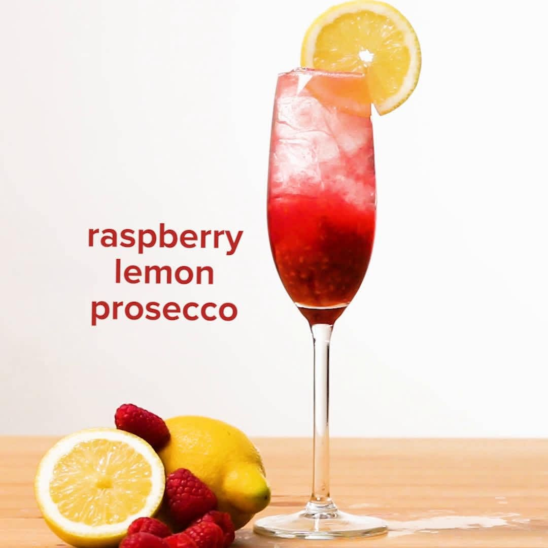 Raspberry And Lemon Prosecco Recipe By Tasty Recipe Prosecco Cocktails Spritzer Recipes Prosecco