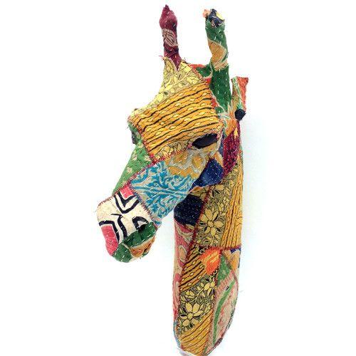Found it at AllModern - Vintage Sari Fabric Giraffe Head Wall Décor