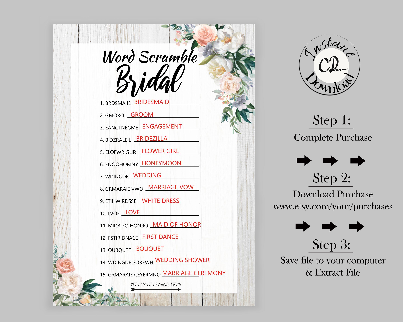 Boho bridal word scramble bride trivia questions