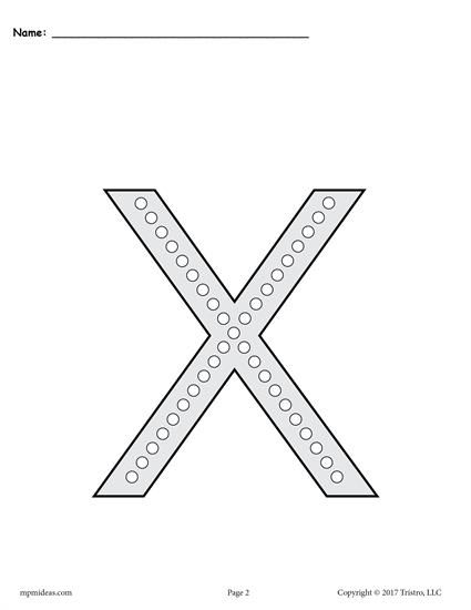 FREE Printable Lowercase Letter X Q Tip Painting Printables! Letter X  Worksheets Like These Are Perfect For Preschoolers And Kindergartners.
