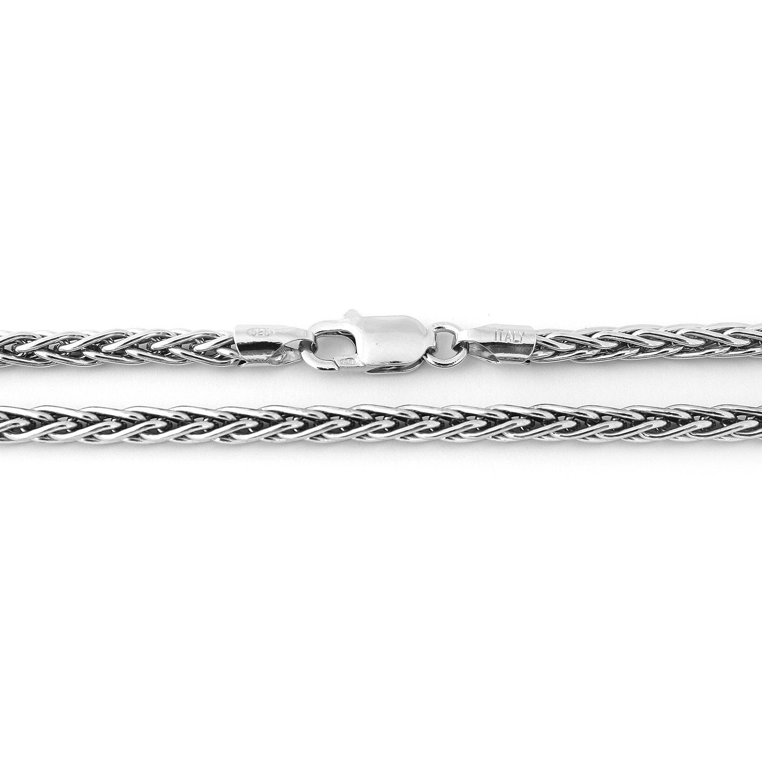 Sterling silver italian mm thick spiga wheat chain necklace