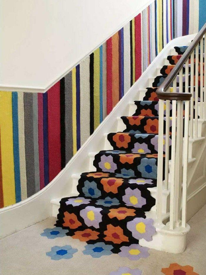 Carpet For Stairs Floral Design Beautiful Wall Decoration Str*P | Floral Carpet For Stairs | Modern | Brown Pattern | Pattern | Laminate | Diamond Pattern