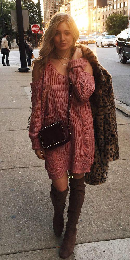 Neck Shoulder DressMake Street Chic Ripped Sweater Pink Me Cold V kPXuZi