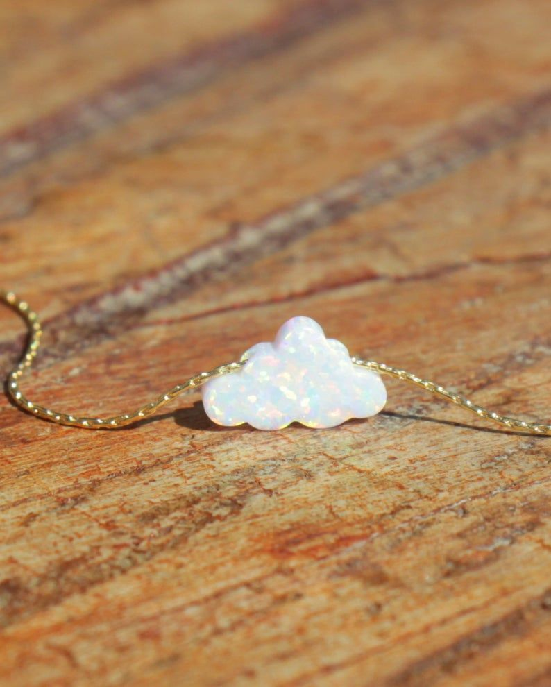 Opal Necklace, Cloud Opal Jewelry, White Opal Charm, White Cloud Necklace, Opal Pendant, Everyday Jewelry, Silver Gold Rose Gold, Child Gift