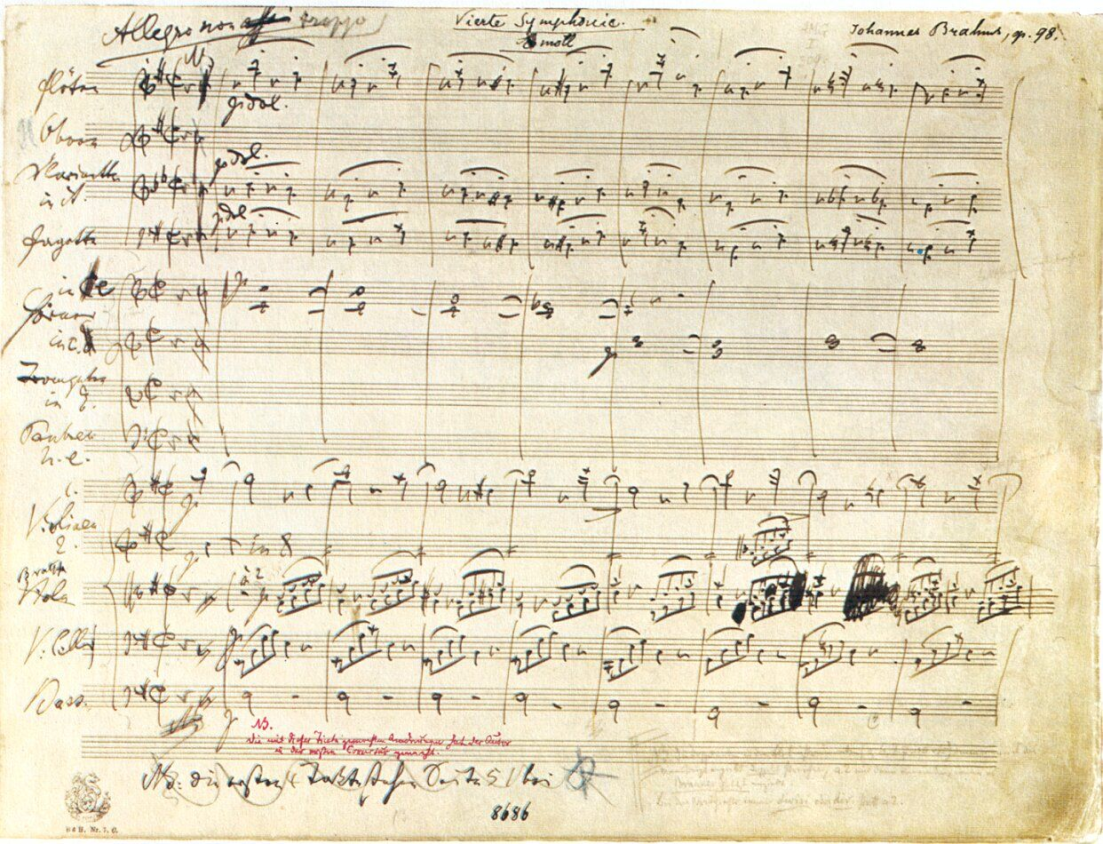 First Page Of Brahms Fourth Symphony In E Minor Music