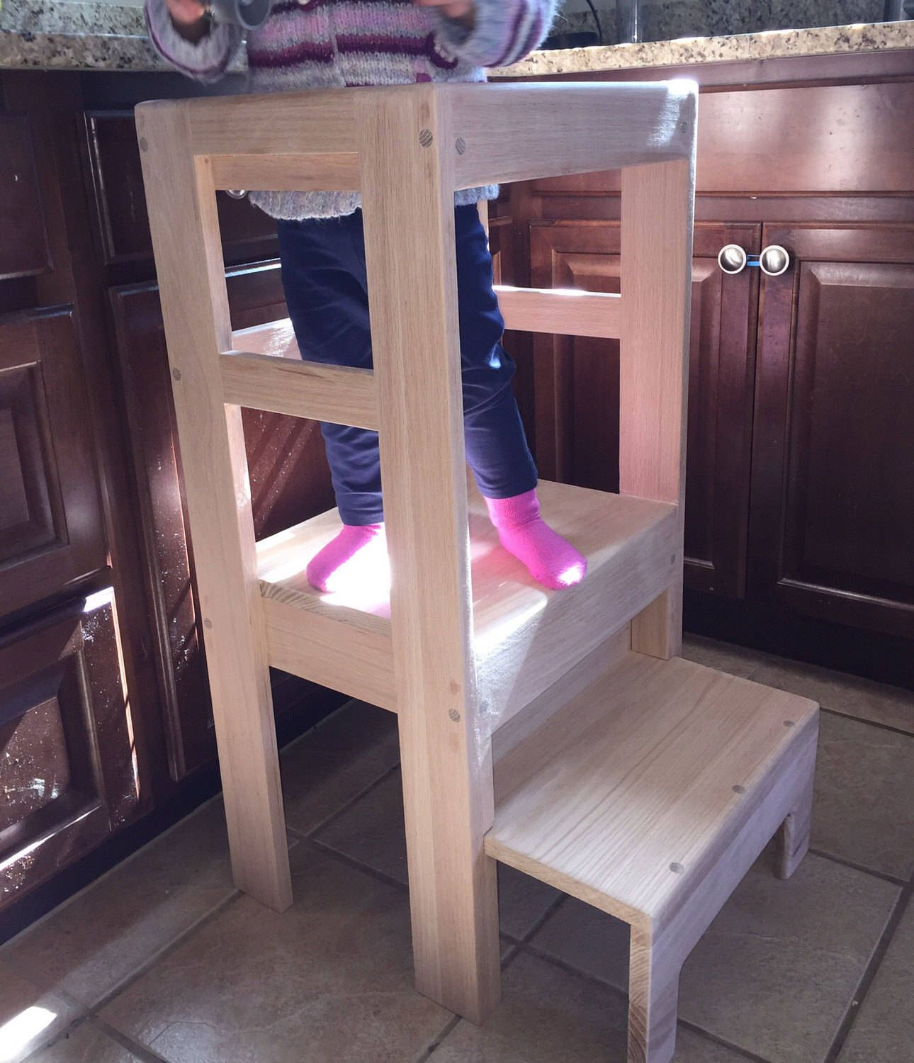 Children's Interactive Kitchen Oak Play Step Stool Counter