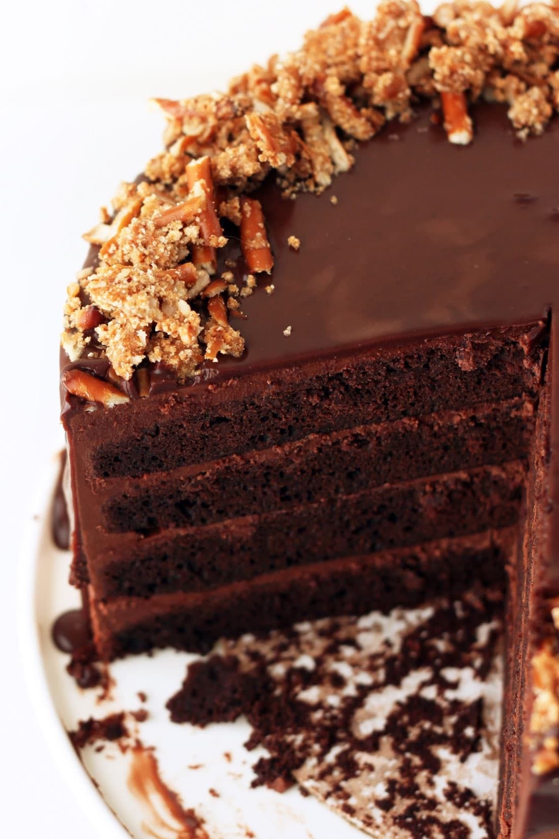 4layer bourbon chocolate cake with a chocolate pretzel