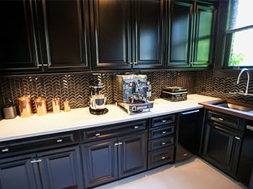 Butlers Pantry By KraftMaid Cabinetry With Sleek Quartz Counters
