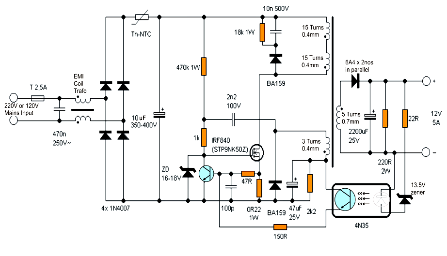 Homemade Circuit Projects 12v 5 Amp Transformerless Battery Charger Circuit Smps Based Battery Charger Circuit Power Supply Circuit Circuit Diagram
