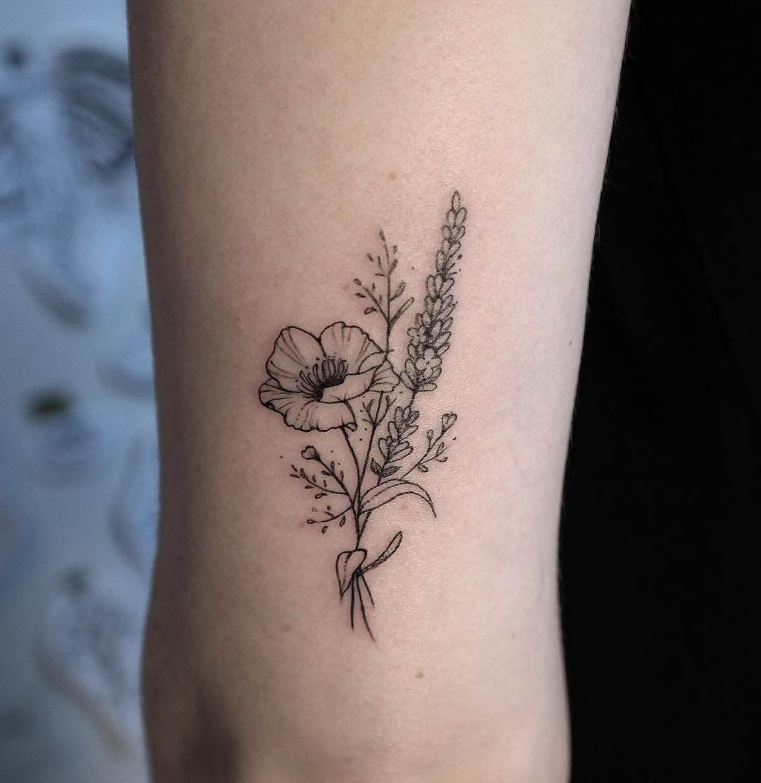 Buse Poppy Lavender Little Flower Tattoos Dainty Flower Tattoos Tattoos