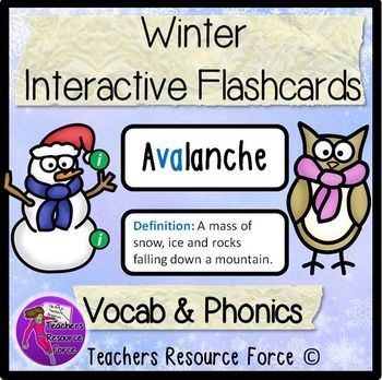 Winter Interactive Flash Cards - Vocab & Phonics. Teaching using phonics in this style has been proven to increase reading ages by up to 2 years in only a few weeks. Exposing students to a word and its definition and root word explicitly 6 times in a lesson, is how students retain the vocabulary. This resource will focus on 36 key words to do with Winter.