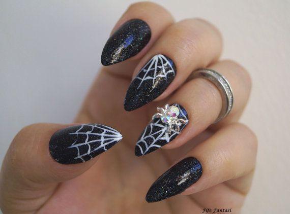 Black Stiletto Nails Halloween Nails Fake Nails Witch Nails