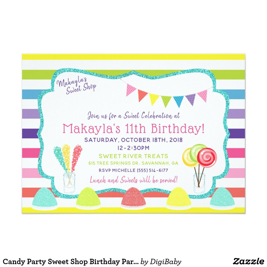 Candy Party Sweet Shop Birthday Party Invitation | Birthday Party ...